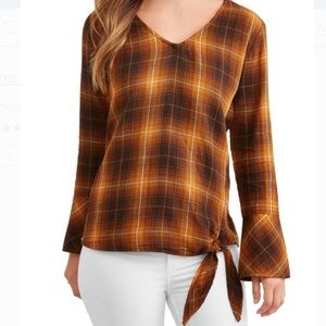 Time and True Plaid Blouse